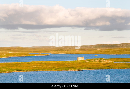 Shieling on Isle of Lewis, Hebrides, Scotland, UK - Stock Photo