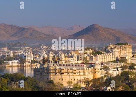 Udaipur City Palace at Dawn, Rajasthan, India, Subcontinent, Asia - Stock Photo
