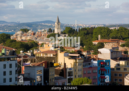Elevated view over Sultanahmet Old Istanbul a UNESCO designated World Heritage site in Istanbul Turkey - Stock Photo