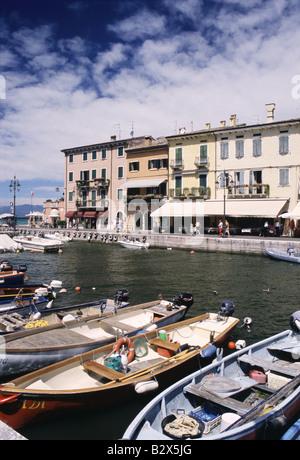 Lazise a picturesque harbour town Lake Garda - Stock Photo