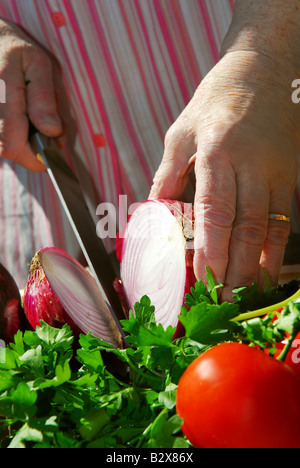 Hands of an elderly woman cooking with fresh vegetables - Stock Photo