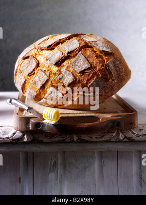 wholemeal loaf of bread - Stock Photo