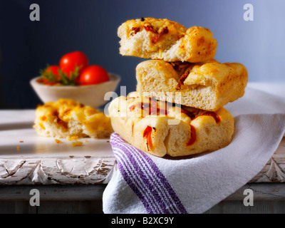 Sun dried tomato Focaccia Italian bread - Stock Photo