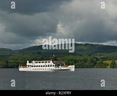 Passenger steamer Swan cruising on Lake Windermere, Lake District National Park, Cumbria, England UK - Stock Photo