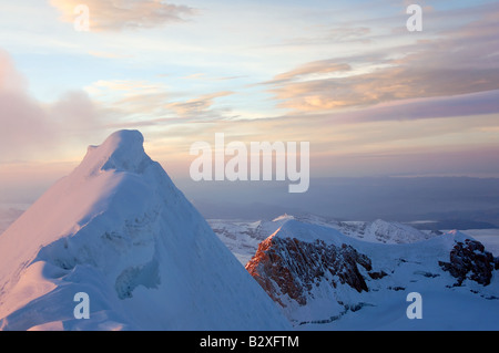 View from the peak of Huayna Potosi, a 6000m peak in Bolivia's Cordillera Real - Stock Photo