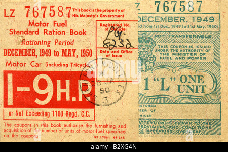 1949-1950 Motor Fuel Ration Book during Post War Petrol Rationing FOR EDITORIAL USE ONLY - Stock Photo