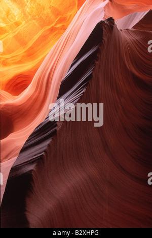 Sandstone patterns in Lower Antelope Canyon near Page Arizona - Stock Photo
