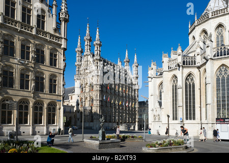 The Stadhuis and St Pieterskerk from the Fochplein, Leuven, Belgium - Stock Photo