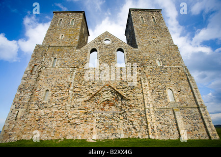 The ancient ruined church of St Mary s in Reculver Kent - Stock Photo