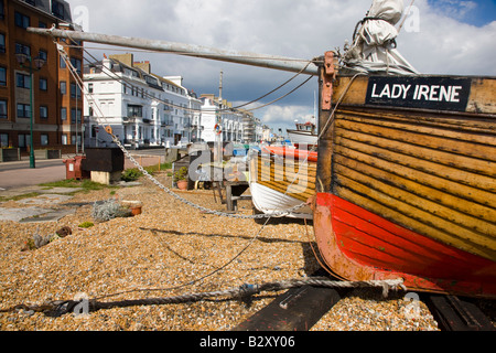 Fishing boats on the beach in Deal Kent - Stock Photo