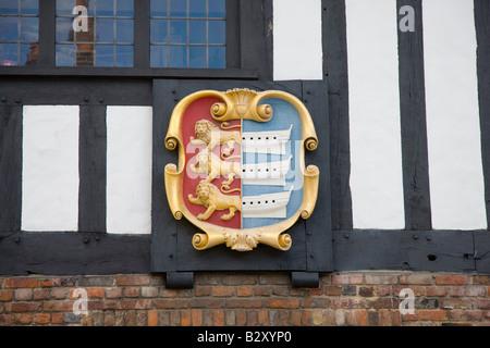Coat of Arms on tudor style town hall in Sandwich Kent - Stock Photo