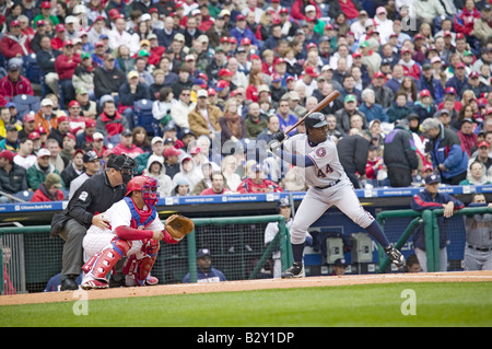 Major League baseball player for the Washington Nationals, #44, Lastings Durell Milledge batting - Stock Photo