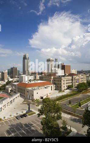 Aerial view of Omaha Nebraska skyline on summer day - Stock Photo