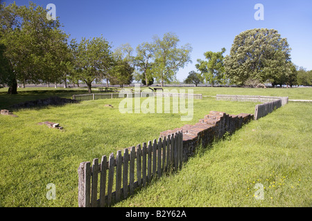 Early house foundations from the 'New Towne' site of Jamestown, Jamestown Island, America's Birthplace, Virginia Stock Photo