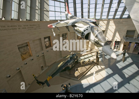 Interior view of fighter jet at the National Museum of the Marine Corps - Stock Photo