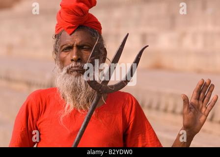 Portrait of Holy Man (Sadhu), Varanasi (Benares), Uttar Pradesh, India, Subcontinent, Asia - Stock Photo