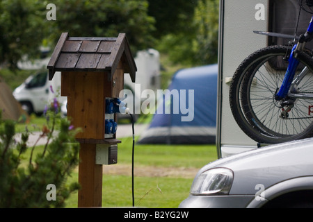 Electric hook up at a campsite - Stock Photo