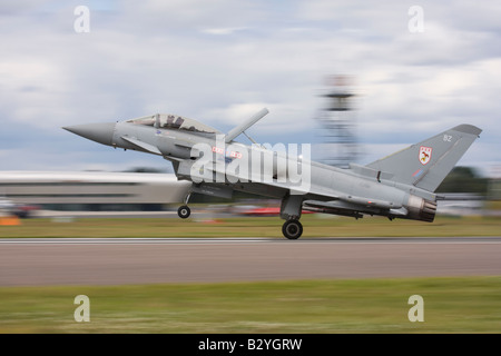 UK Air Force Eurofighter EF-2000 Typhoon F2 from 29 (R) Squadron landing after a display at Farnborough International - Stock Photo