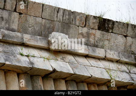 Detail from the House of the Turtles, Uxmal Archaeological Site, Uxmal, Yucatan State, Mexico - Stock Photo