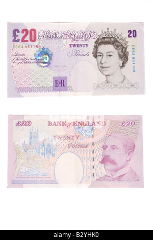The front and back of a twenty pound English bank note. - Stock Photo