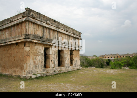 House of the Turtles, Uxmal Archaeological Site, Uxmal, Yucatan State, Mexico - Stock Photo