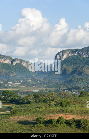 Steep limestone mogote hills in the valley of Viñales in Cuba - Stock Photo