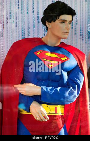 Superman figure in a store window, Melbourne, Australia - Stock Photo