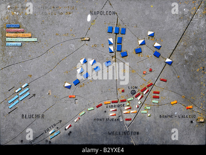 Plaque showing the location of the various armies in the Battle of Waterloo, 18 June 1815. - Stock Photo