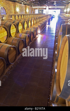 Oak barrel aging and fermentation cellar. Biblia Chora Winery, Kokkinohori, Kavala, Macedonia, Greece - Stock Photo