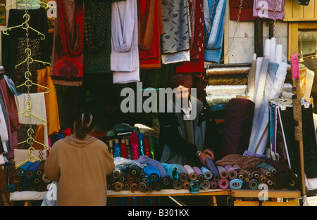 A fabric shop in Southall, London. - Stock Photo