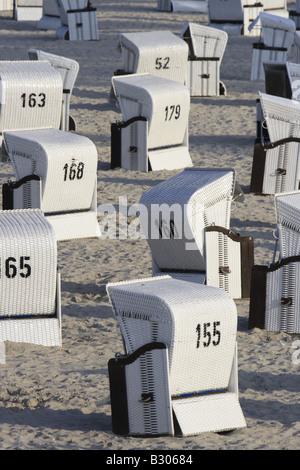 wicker beach chairs Seebad Heringsdorf  Usedom Mecklenburg Vorpommern. Photo by Willy Matheisl - Stock Photo