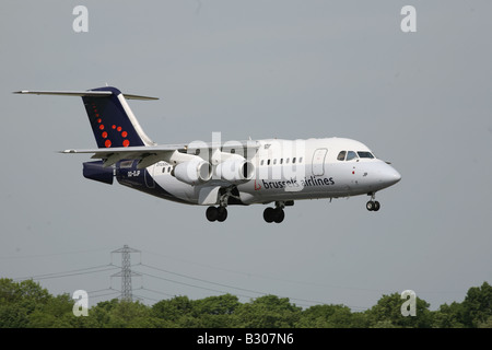 Brussels Airlines BAe 146 RJ85 OO-DJP coming into land at MAN airport, Manchester, United Kingdom - Stock Photo