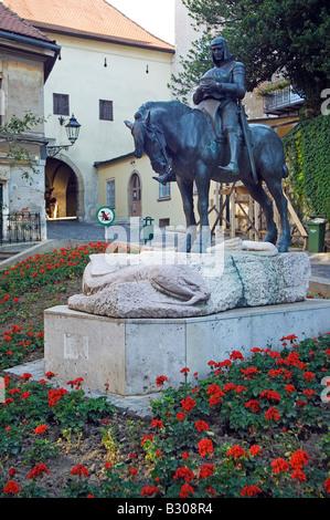 Croatia, Zagreb. Statue of St George and the Dragon - Stock Photo