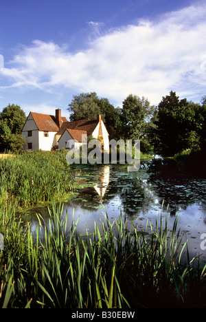 Evening sunshine on Willy Lott's Cottage, Flatford, near East Bergholt Suffolk - Stock Photo