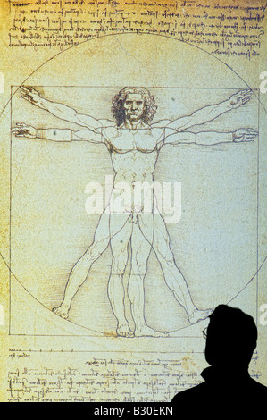 man studying poster of Vitruvian Man 1490 by Leonardo da Vinci 1452-1519 pen and ink - Stock Photo