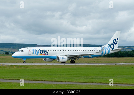 Flybe - British European Embraer ERJ-190-200LR 195LR Taxiing at Inverness Airport Scotland - Stock Photo