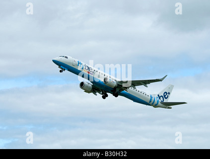 Flybe - British European Embraer ERJ-190-200LR 195LR leaving Inverness Airport Scotland - Stock Photo