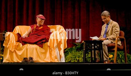 The 14th DALAI LAMA of TIBET at a public talk at the UNIVERSITY OF INDIANA October 2007 Buddhist teaching BLOOMINGTON - Stock Photo