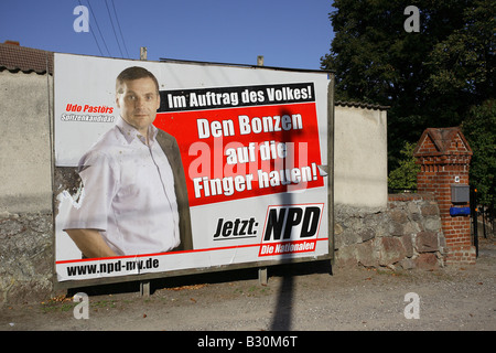Election poster of the National Democratic Party of Germany, Jarmen, Germany - Stock Photo