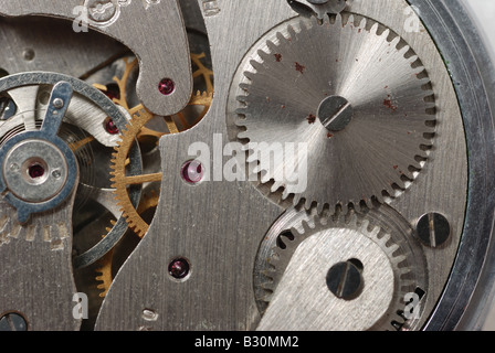 old watch the device The internal mechanism of watch a photo close up - Stock Photo