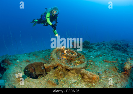 Diver and Hatch of USS Apogon Submarine Marshall Islands Bikini Atoll Micronesia Pacific Ocean - Stock Photo