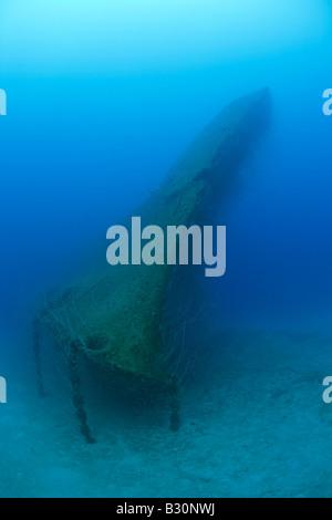 Bow of USS Arkansas Battleship Marshall Islands Bikini Atoll Micronesia Pacific Ocean - Stock Photo