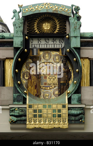 the jugendstil art nouveau ankeruhr anchor clock on the Hoher Markt in Vienna - Stock Photo
