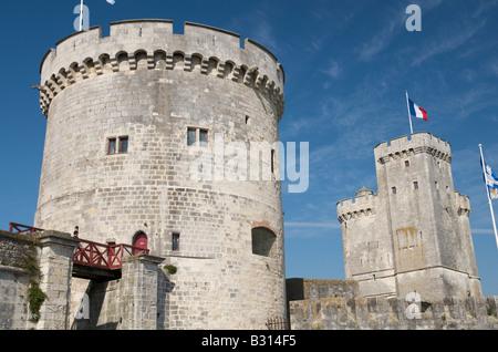 The Tour Saint-Nicolas and the Tour de la Chaîne at La Rochelle in France - Stock Photo