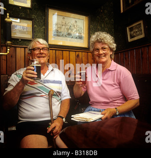 UK England County Durham Beamish Open Air Museum Peter and Sheila Ashby drinking in Sun Inn - Stock Photo