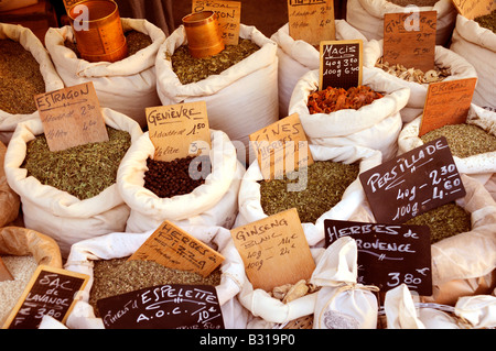 HERBS AND SPICES STALL IN FRENCH MARKET - Stock Photo