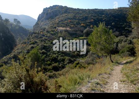 path leading down to Els Tolls, near Vall de Ebo, Marina Alta, Alicante Prov. Comunidad Valenciana, Spain - Stock Photo