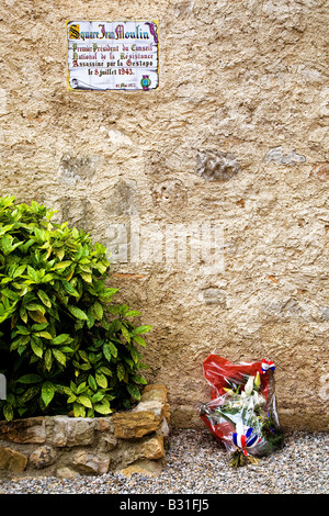Memorial to Victims of Second World War Atrocity, St Guilhem le Desert, Languedoc-Roussillon, France - Stock Photo