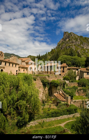 Village and Abbey of Gellone 806 AD, St Guilhem le Desert, on the pilgrimage route to  Santiago de Compostella in - Stock Photo
