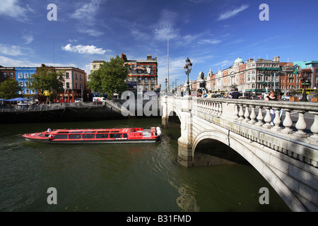 The O Connell Bridge over the Liffey River, Dublin, Ireland - Stock Photo